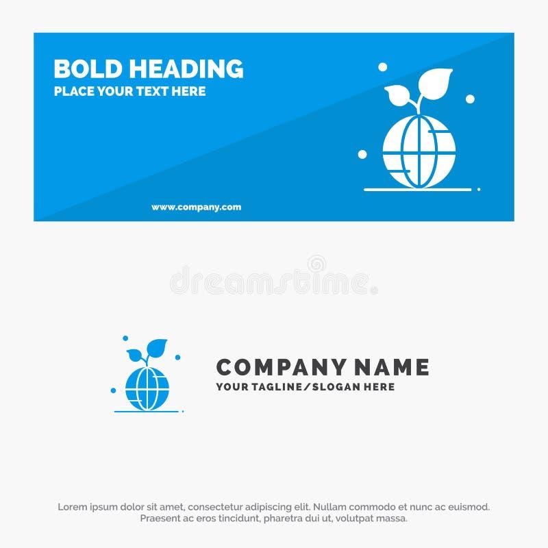 地球、绿色、行星、救球、世界坚实象网站横幅和企业商标模板 库存例证