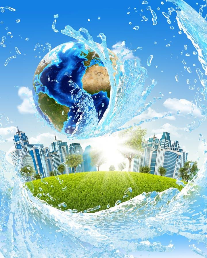 地球、绿草、摩天大楼和水 库存例证