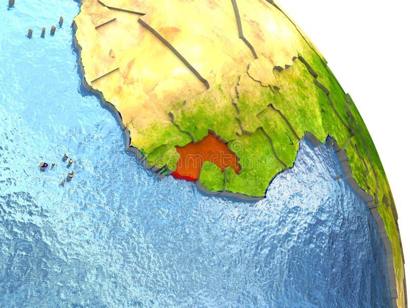 地球上的几内亚在红色 库存例证