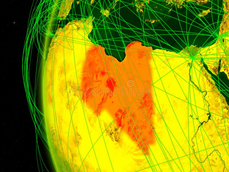 地球上的利比亚与网络 库存例证