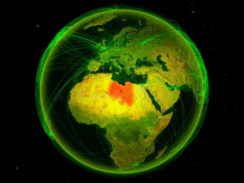 地球上的利比亚与网络 向量例证