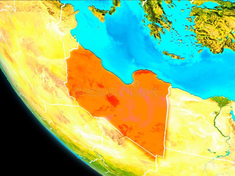 地球上的利比亚从空间 库存例证
