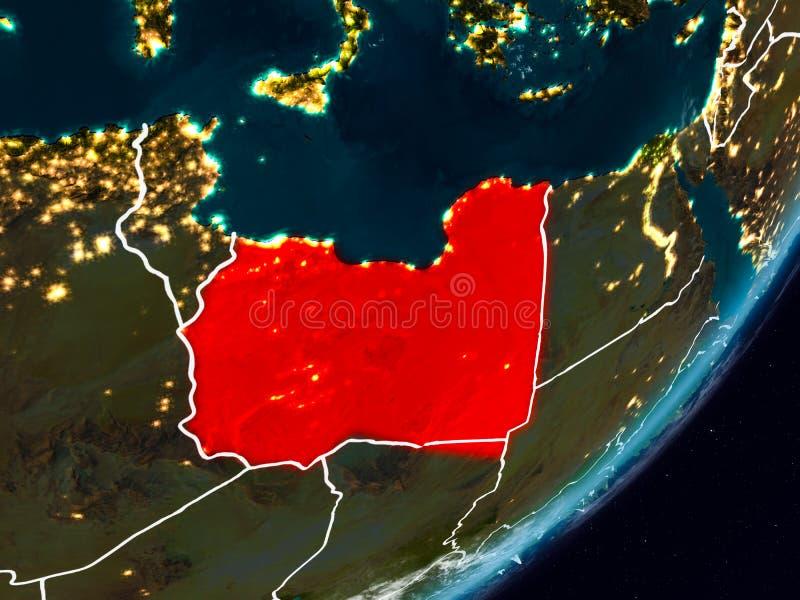 地球上的利比亚在晚上 皇族释放例证