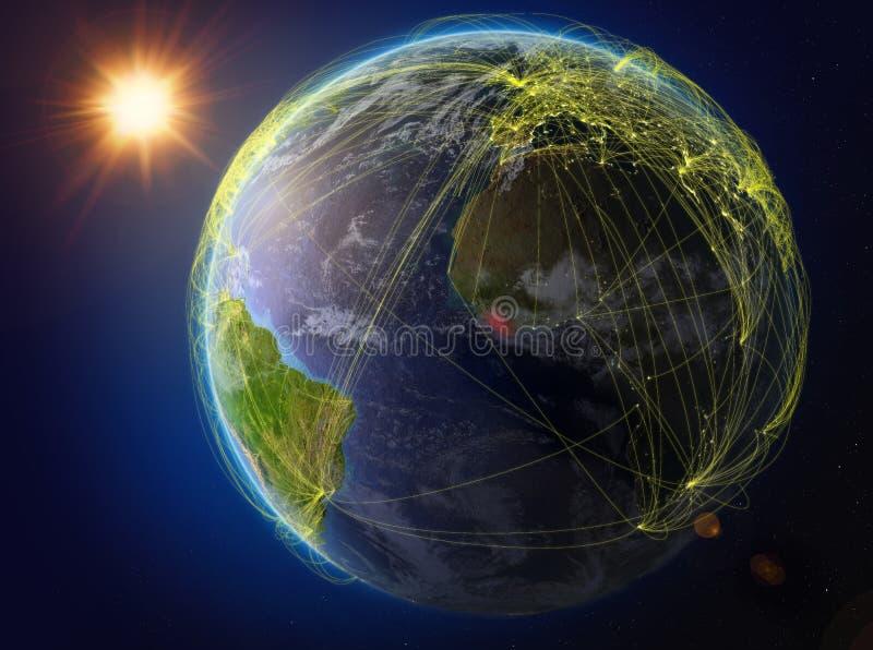 地球上的利比里亚与网络 库存例证