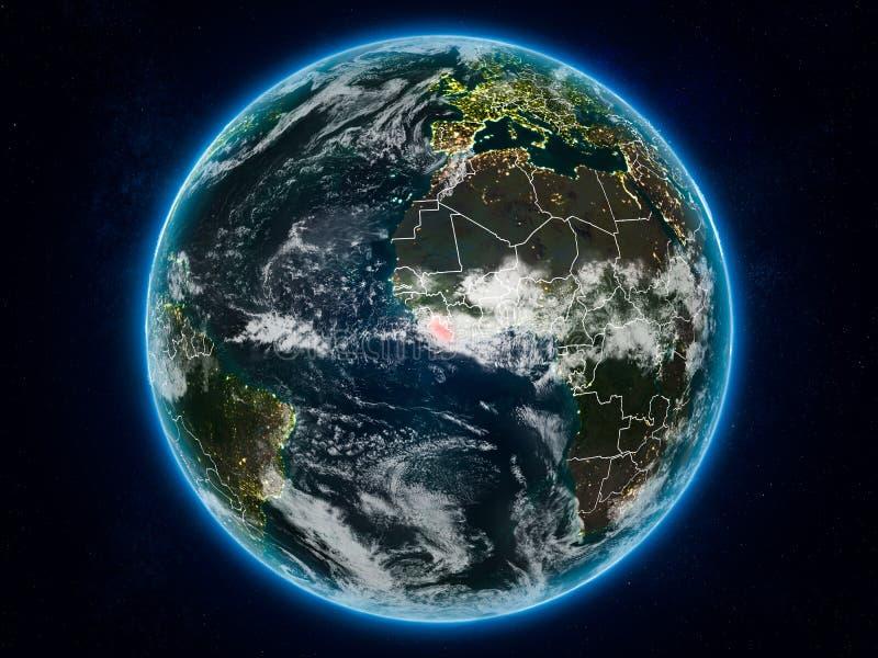 地球上的利比里亚在晚上 库存例证
