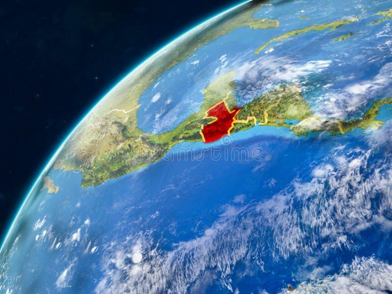 地球上的危地马拉与边界 免版税库存图片