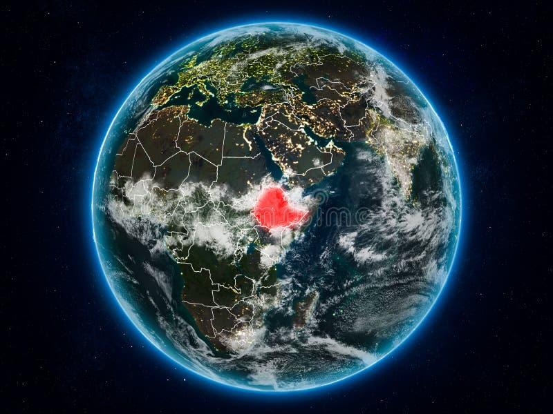 地球上的埃塞俄比亚在晚上 库存例证