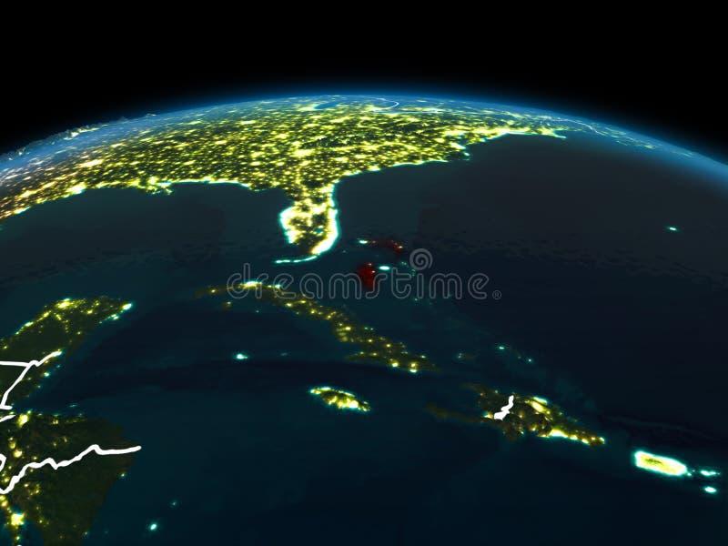 地球上的巴哈马在晚上 免版税图库摄影