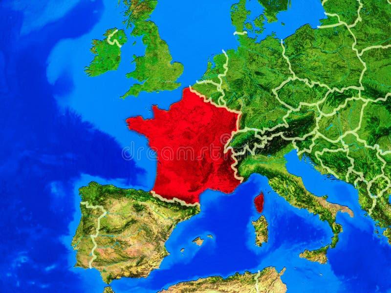 地球上的法国与边界 向量例证