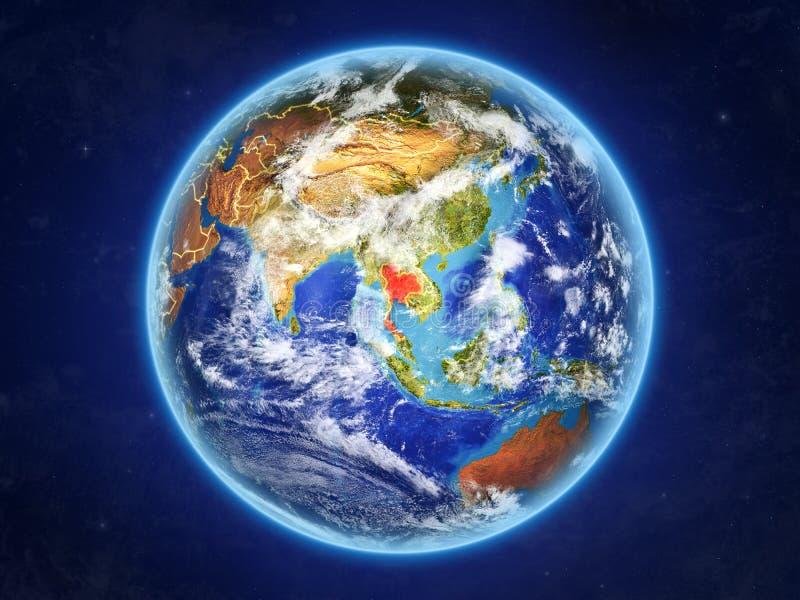 地球上的泰国从空间 向量例证