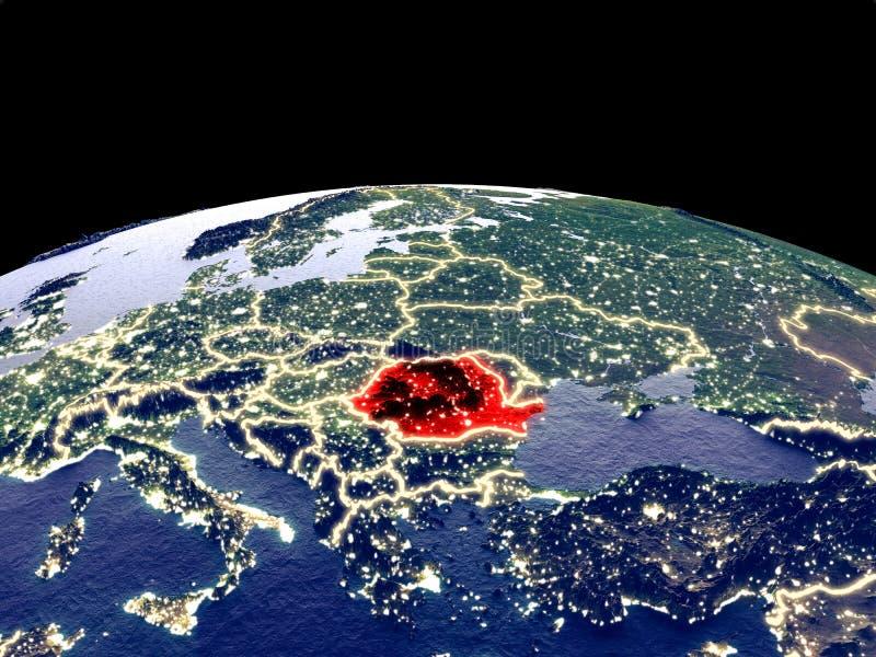 地球上的罗马尼亚从空间 库存例证