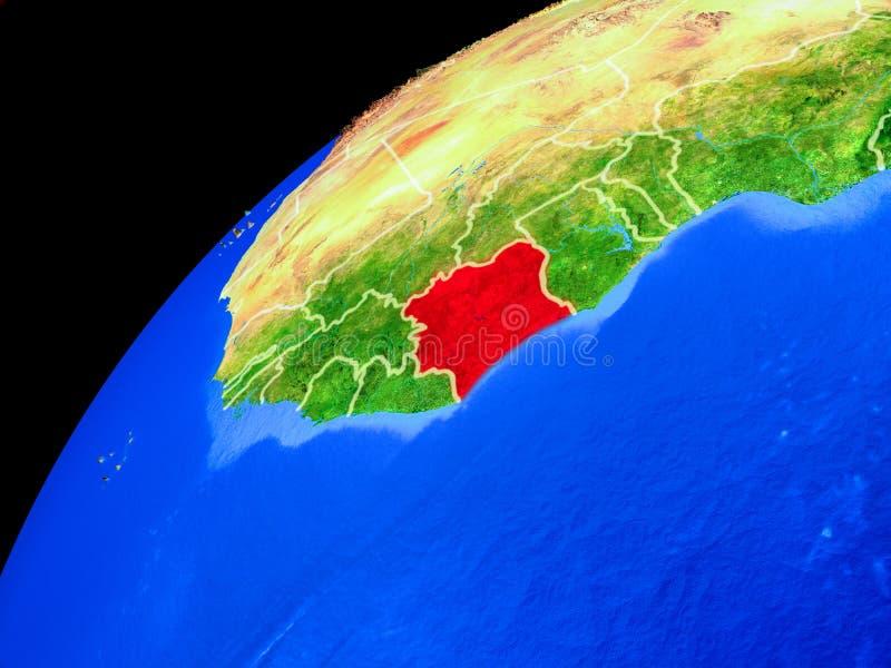 地球上的象牙海岸从空间 向量例证