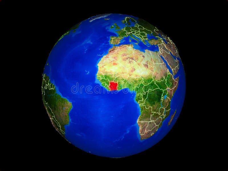 地球上的象牙海岸从空间 库存例证