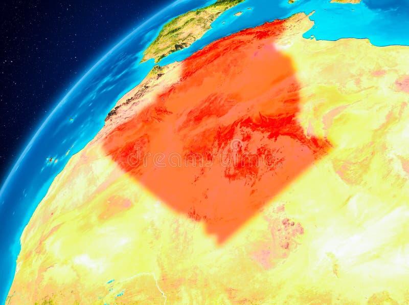 地球上的阿尔及利亚从空间 皇族释放例证