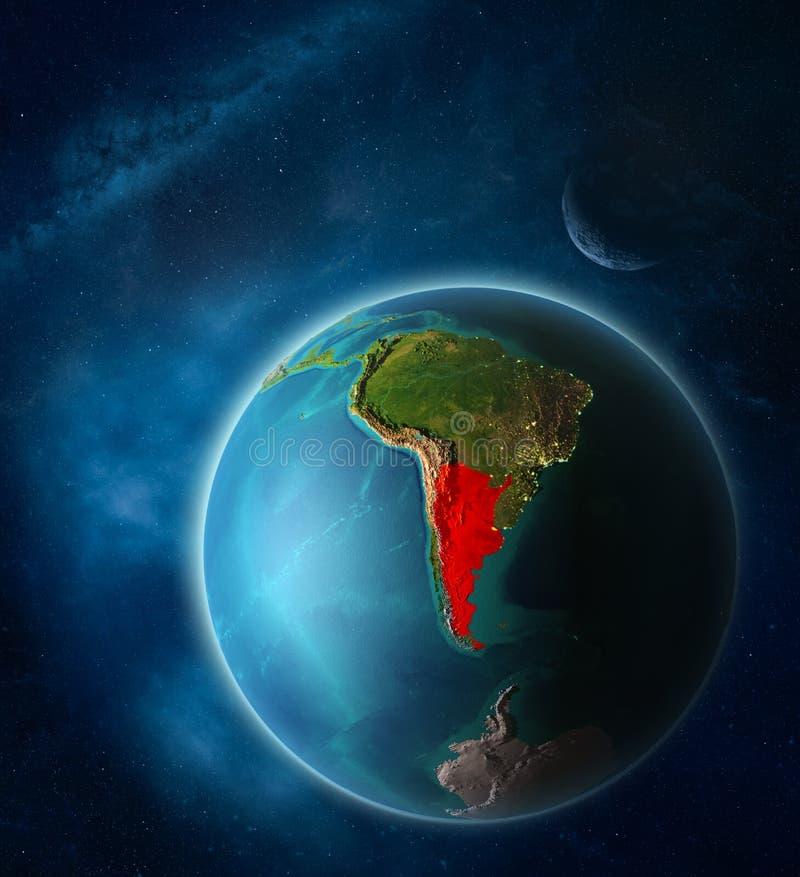 地球上的阿根廷从空间 库存例证