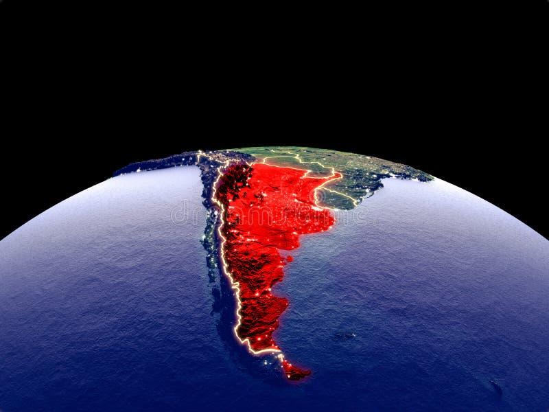 地球上的阿根廷从空间 皇族释放例证