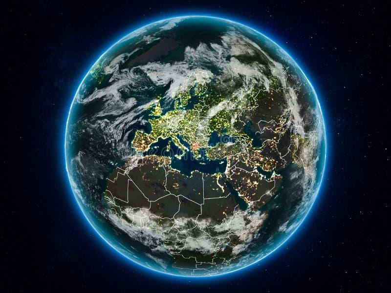 地球上的马其顿在晚上 库存照片