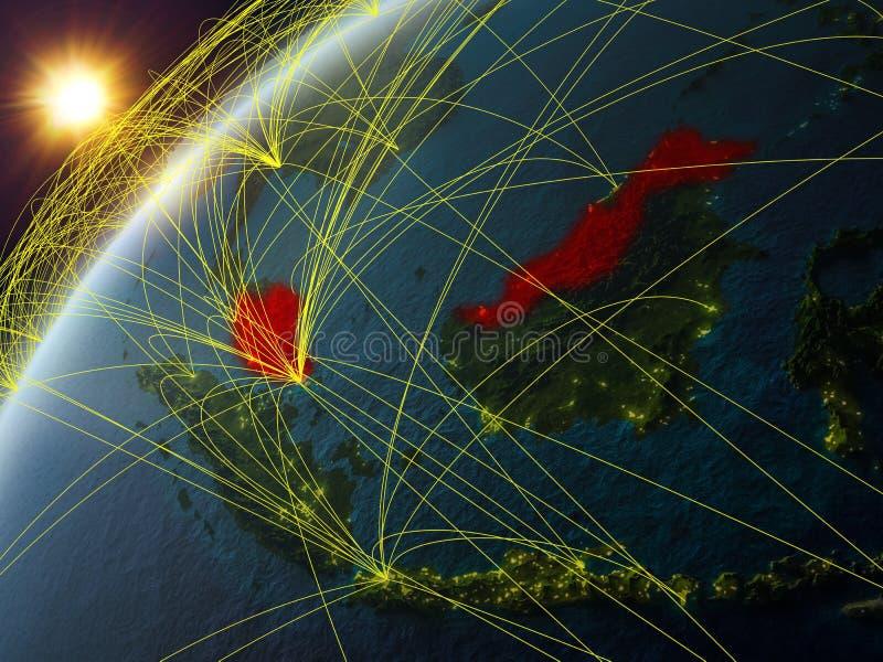 地球上的马来西亚与网络 向量例证