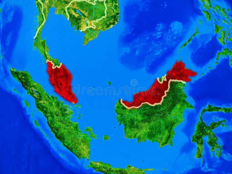 地球上的马来西亚与边界 向量例证