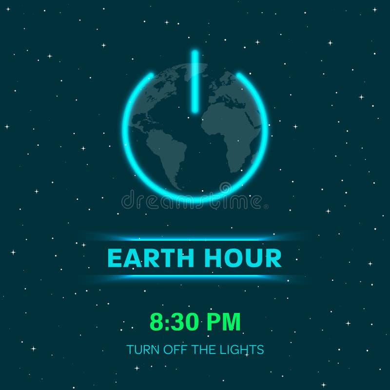 地球与霓虹灯的小时概念 在空间的平的地球行星 接地与开关灯开关象或力量按钮的地球 向量例证