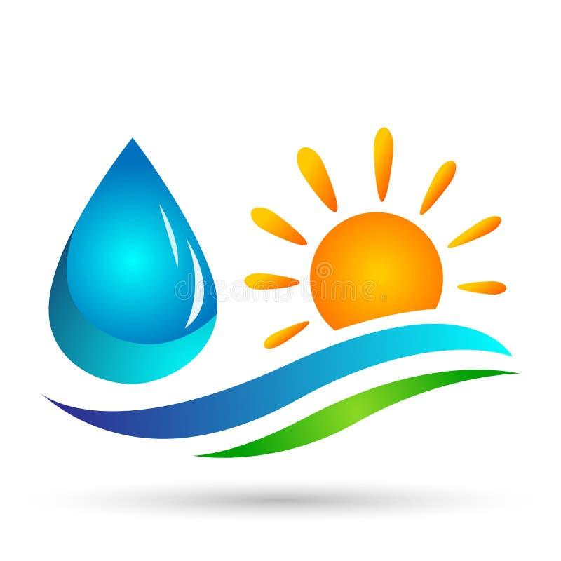 地球世界太阳海波浪水波象海岸象旅游业假日夏天海滩在白色背景的传染媒介设计 皇族释放例证