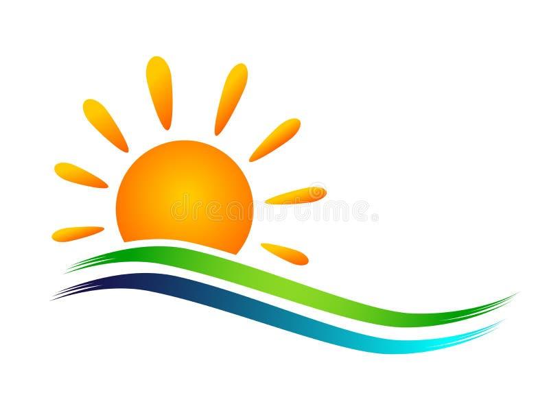 地球世界太阳海波浪水波象海岸象旅游业假日夏天海滩在白色背景的传染媒介设计 库存例证