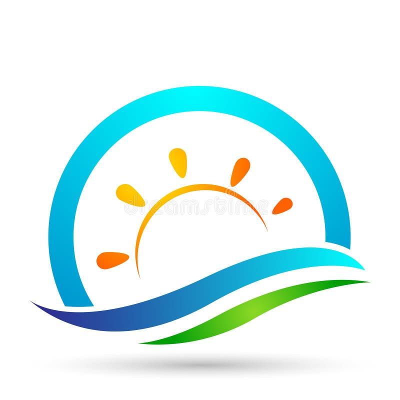地球世界太阳海波浪水波象海岸象旅游业假日夏天海滩在白色背景的传染媒介设计 向量例证