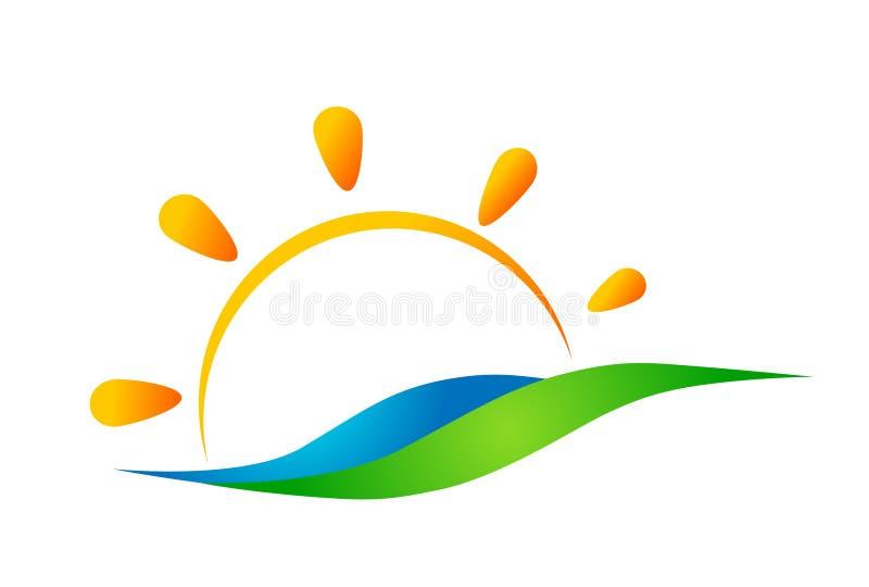 地球世界绿色太阳和海水波浪商标概念标志象在白色背景的设计传染媒介 向量例证