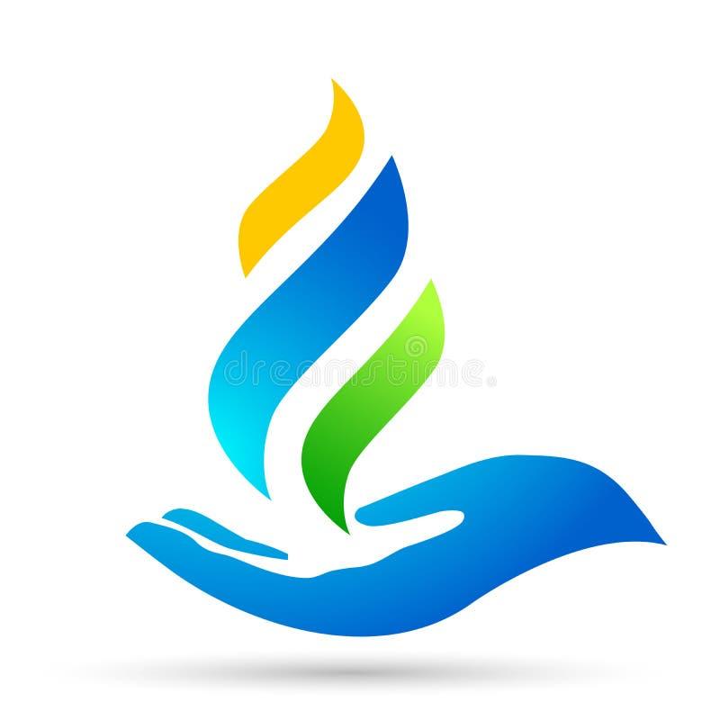 地球世界蓝焰手关心商标火标志象自然投下元素导航在白色背景的设计 向量例证