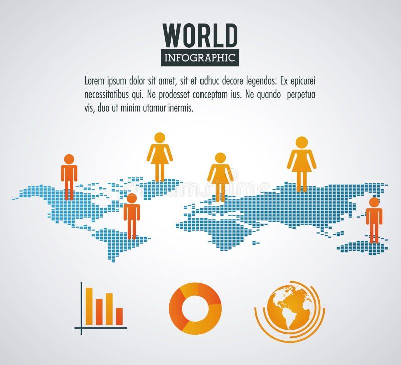 地球世界infographic人口 皇族释放例证