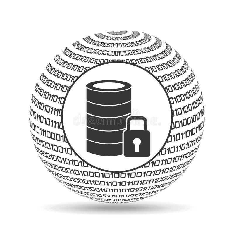 地球二进制概念数据库安全 向量例证