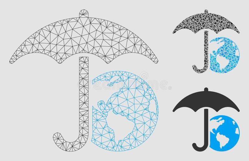 地球伞传染媒介网状网络模型和三角马赛克象 向量例证