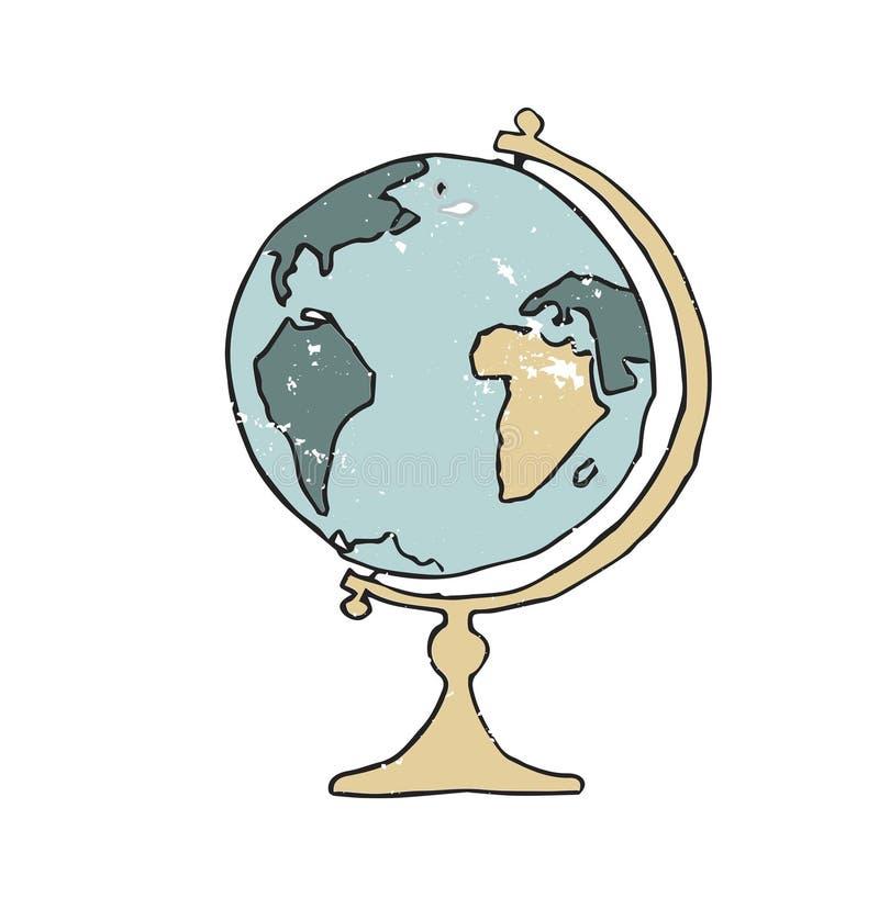 地球传染媒介例证图画葡萄酒元素颜色纹理地球地图绿色黄色老旅行测绘员几何学校 向量例证