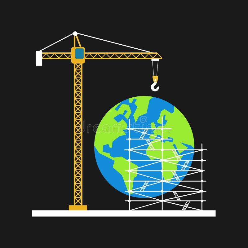 地球作为涌现的和开发的行星 库存例证