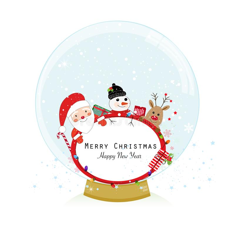 地球例证查出的雪向量白色 圣诞老人、鹿和雪人 新年好圣诞快乐贺卡 库存例证