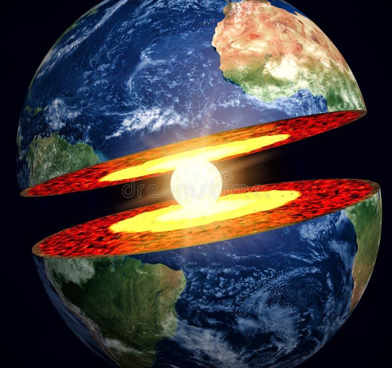 地球切掉与可看见的铁芯 皇族释放例证