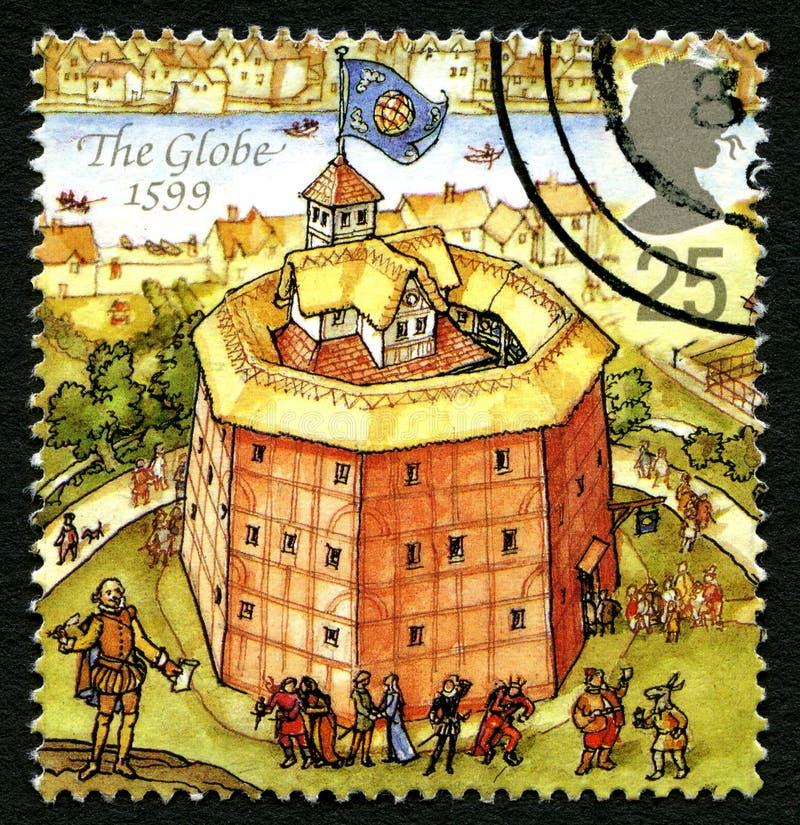 地球剧院英国邮票 库存照片
