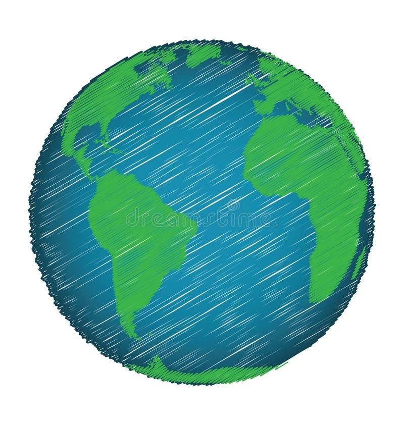 地球剪影手凹道 向量例证