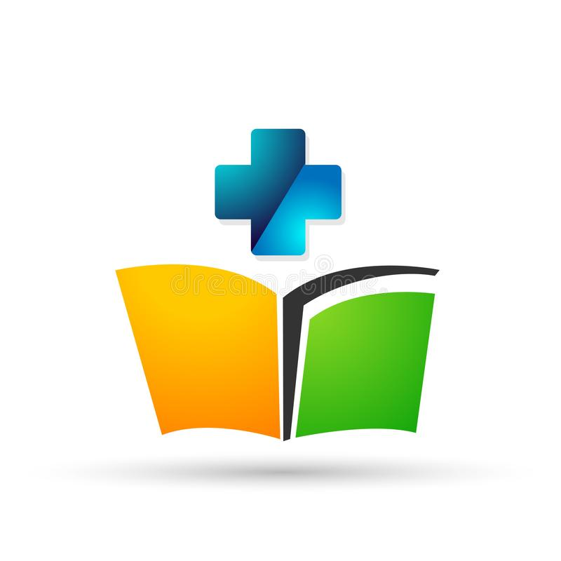 地球医疗发怒clinc教育商标孩子教科书孩子象 向量例证