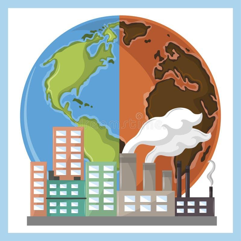 地球半沙漠和产业与烟 向量例证