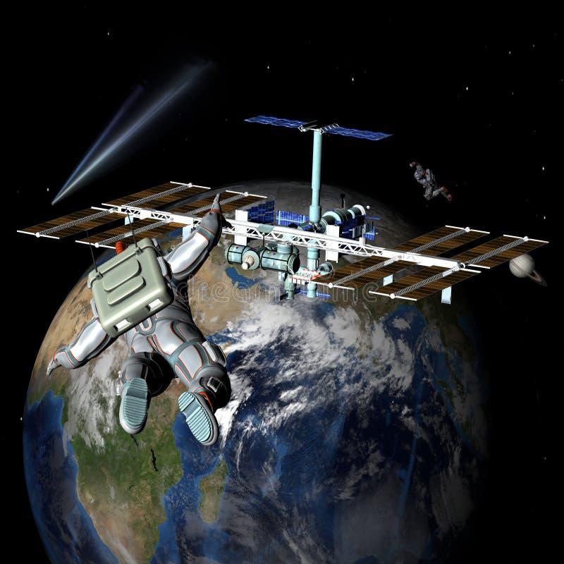 地球卫星空间站 皇族释放例证
