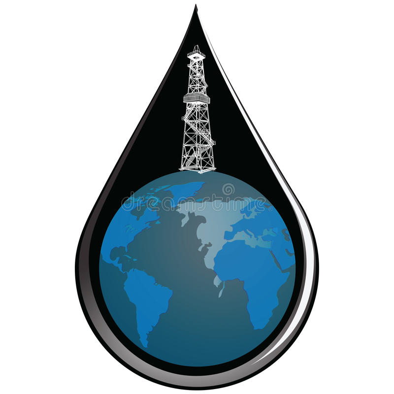 地球和下落油 库存例证
