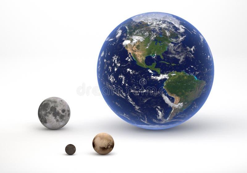 地球和冥王星系统比较 皇族释放例证