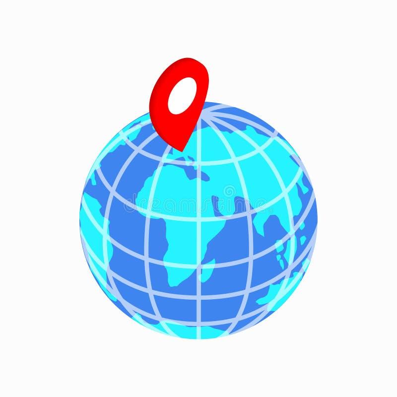 地球和地图尖象,等量3d样式 皇族释放例证