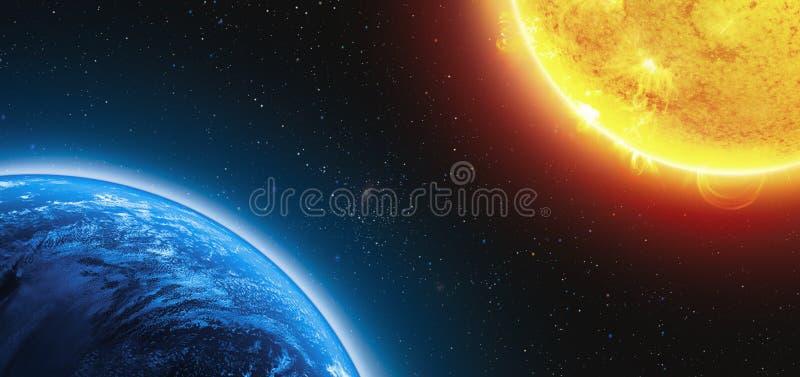 地球和太阳 库存例证
