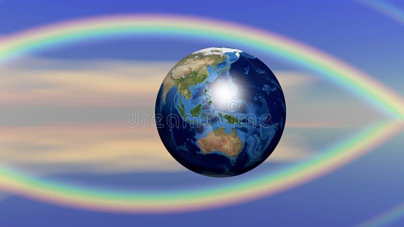 地球和宗教的抽象概念 向量例证