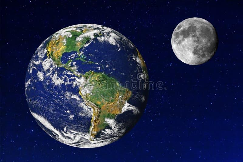 地球和月亮在宇宙 免版税库存图片