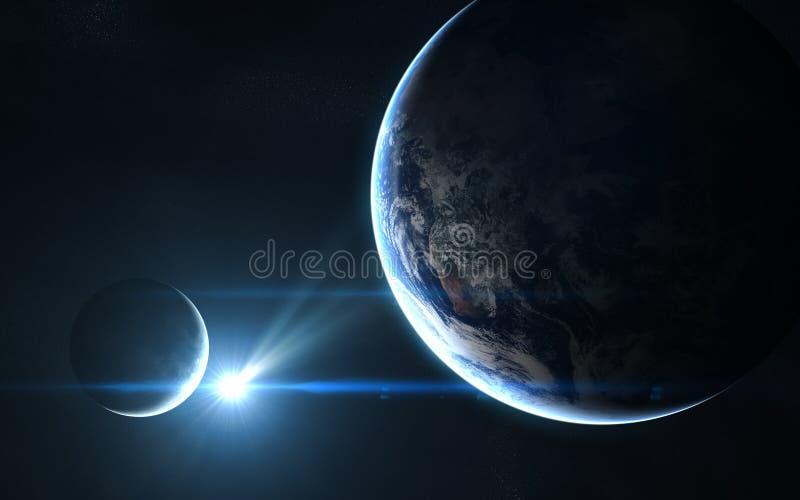 地球和月亮在蓝色阳光下 抽象科学小说 图象的元素由美国航空航天局装备 免版税库存照片