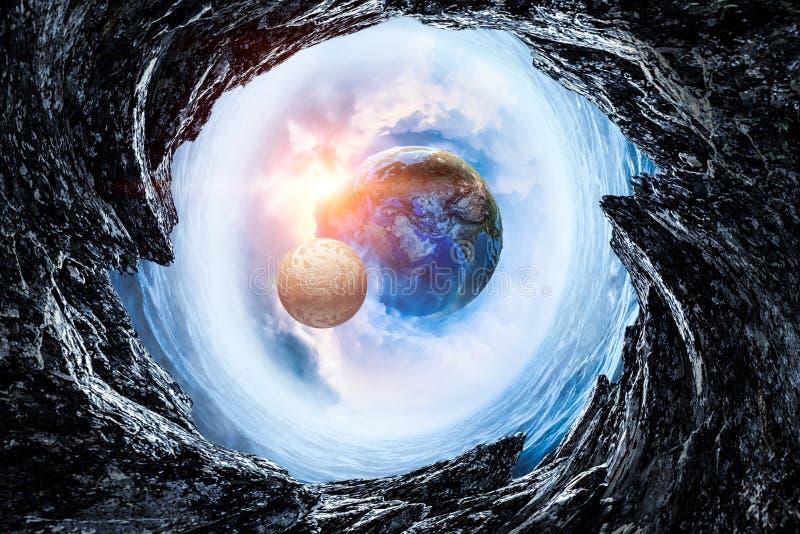 地球和月亮摘要图象 库存照片