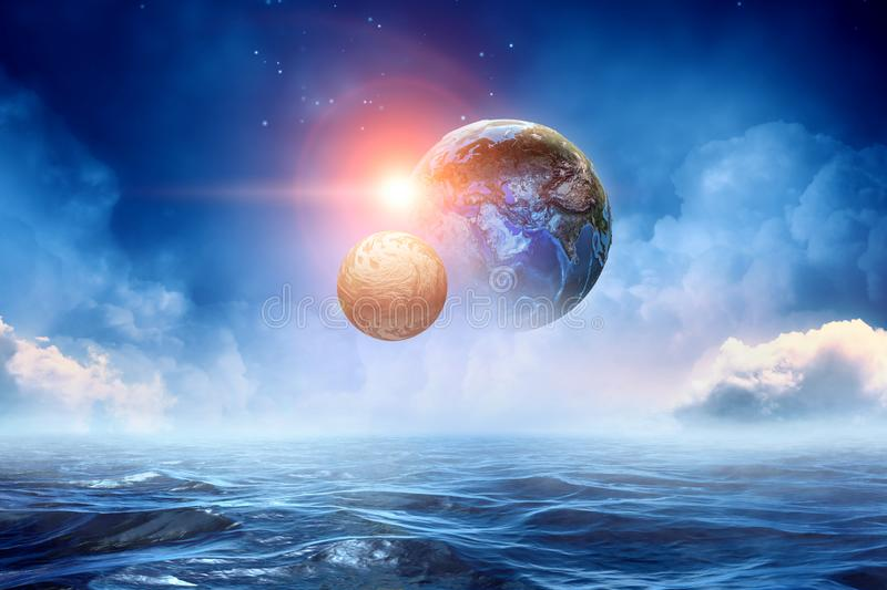 地球和月亮摘要图象 免版税库存照片